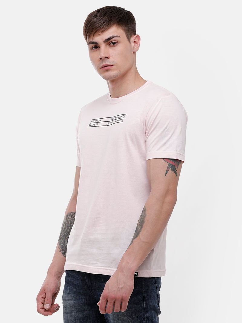 Men's Light pink half sleeve T-shirt with reflective print detail on chest