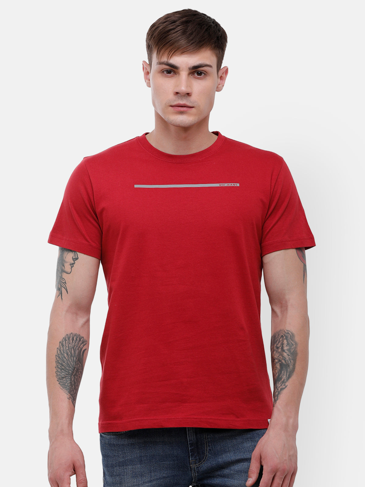 Men's Red half sleeve T-shirt with reflective detail on chest