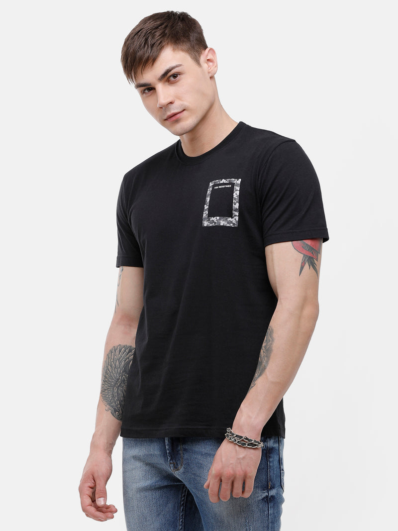 Men's Black Round neck T-shirt with pocket print