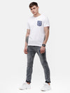 Men's White round neck pocket print T-shirt