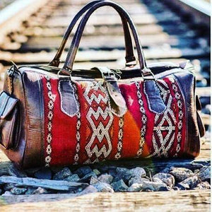 Large Kilim Travel Bag - GFM -giftsfrommorocco-morocco leather