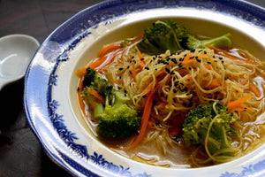 Brown Rice Noodles in a Ginger Sesame Broth….