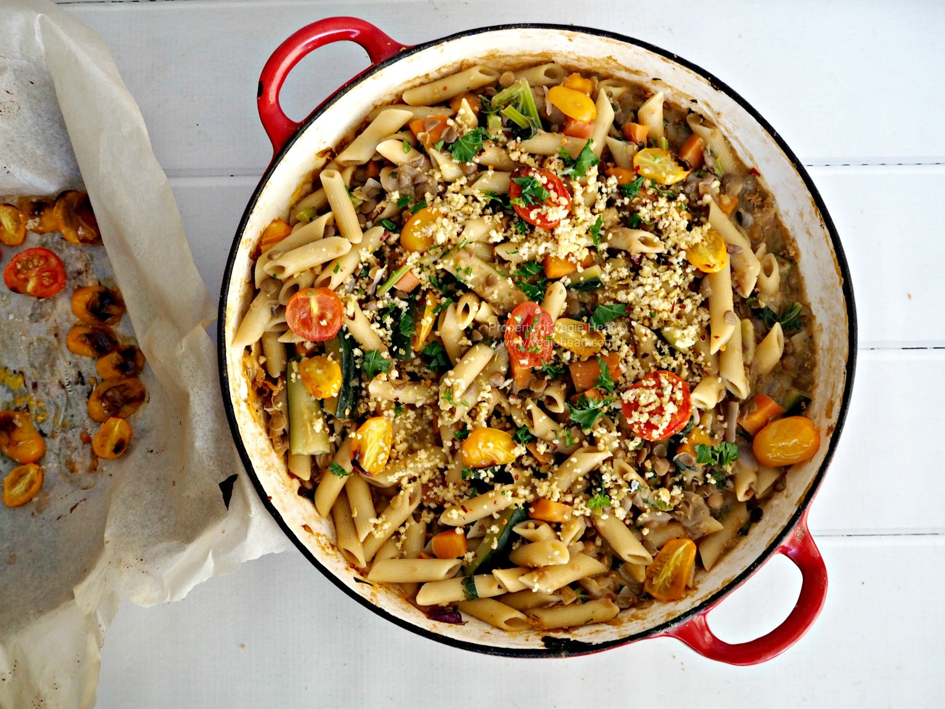 Lentil and Pasta Ragu with Roasted Tomatoes and Kale, and Homemade Vegan Parmesan Sprinkles