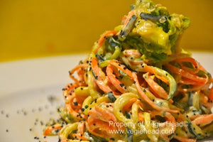 Vegie noodles with orange-tahini dressing and hemp seeds…