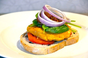 Open faced Pumpkin and Chickpea Burger