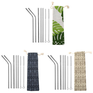 Reusable metal straw and pipe cleaner set