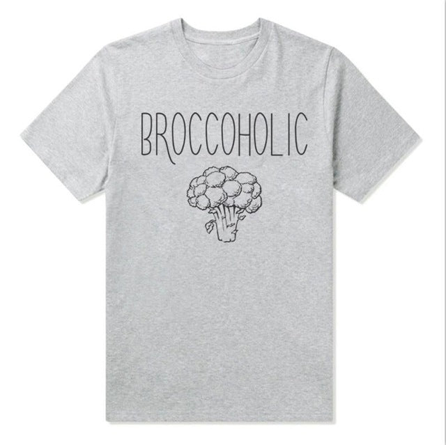 'Broccoholic'  round neck t shirt