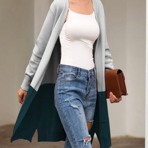 Contrast Cardigan (gray/teal)
