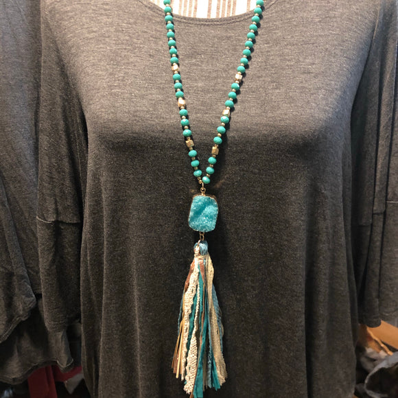 Tassel turquoise beaded necklace