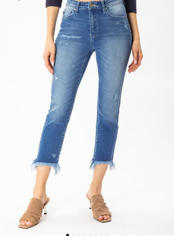 Denim frayed leg skinny high waist