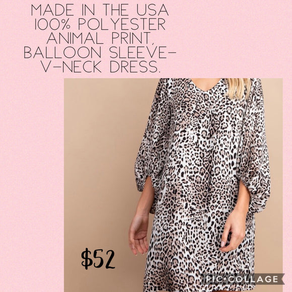 Animal print Balloon sleeve dress