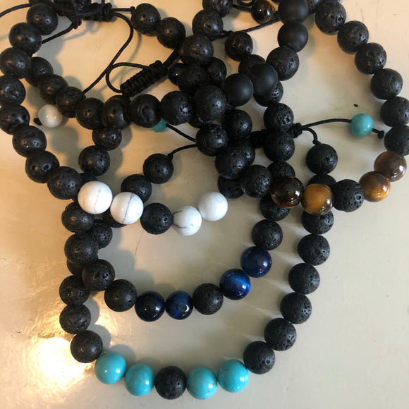 Bracelet lava rock essential oil beads