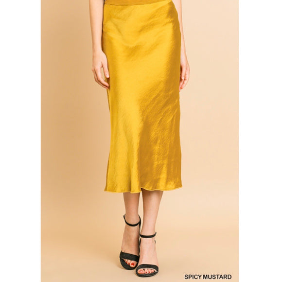 Satin Midi Skirt w/side slit