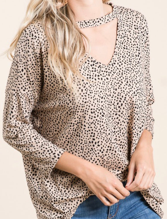 Animal print V-neck choker top