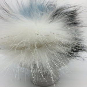 Real fur pom - blue, white, black