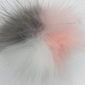 Real fur pom - pink, grey, white