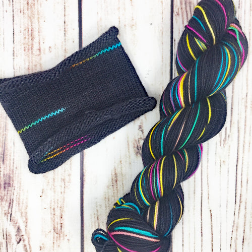 A Tiny Fey Rainbow - hand-dyed self-striping sock yarn