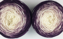Load image into Gallery viewer, Speckled gradient sock pair - aubergine to natural