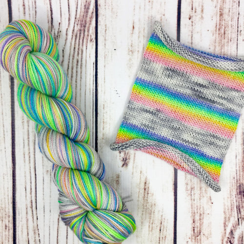 Be The Rainbow Unicorn You Wish To See - hand-dyed self-striping sock yarn