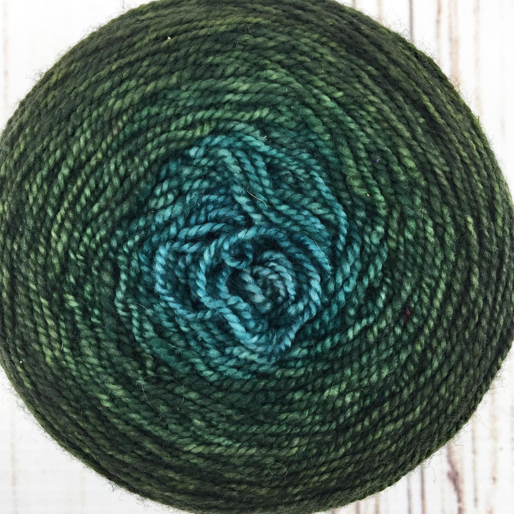 Forest green to ocean blue gradient cake - 431 yards