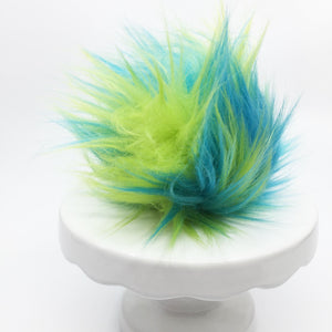 Faux fur pom - vivid blue, green