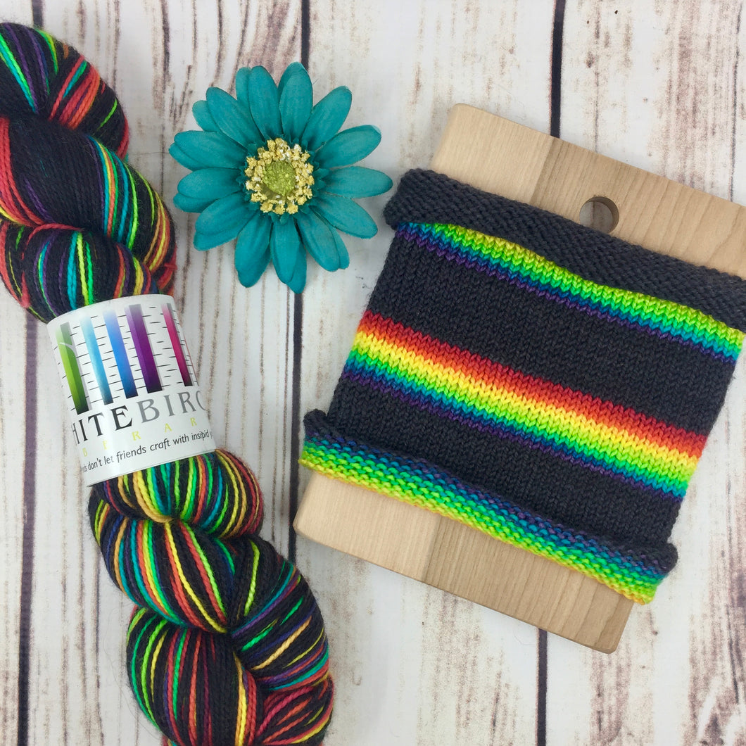 Does This Rainbow Make My Black Look Big? - hand-dyed self-striping sock yarn