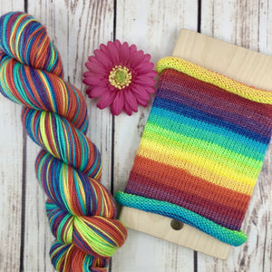 The Full Monty (long repeat version) - hand-dyed self-striping sock yarn