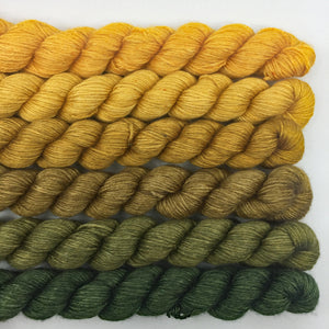 Golden yellow to deep green shawl kit - 50% SW merino, 50% silk