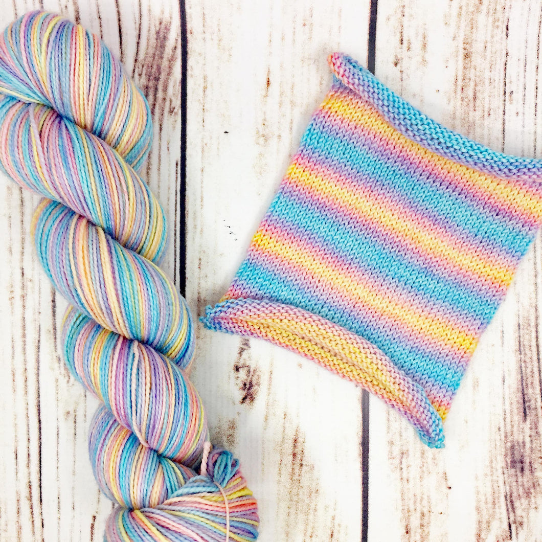 Behold A Pale Rainbow - hand-dyed self-striping sock yarn