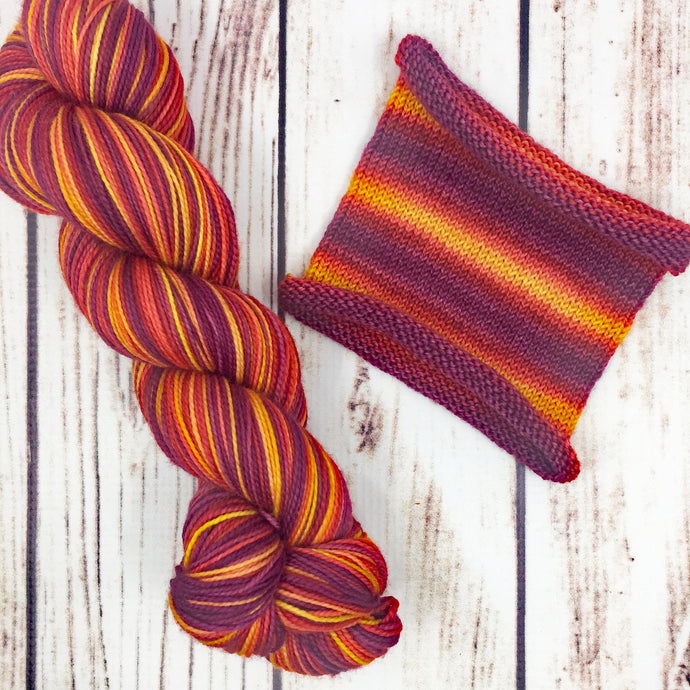 Long Hot Summer - hand-dyed self-striping sock yarn