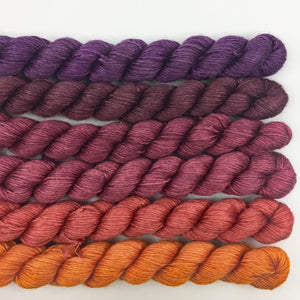 Harvest orange to purple shawl kit - 50% SW merino, 50% silk