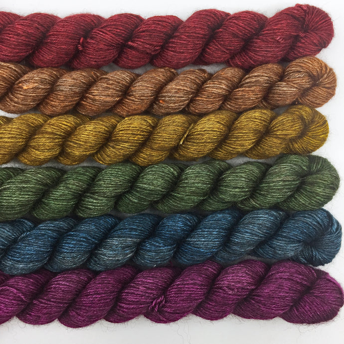 Dark rainbow shawl kit - 50% yak, 50% silk