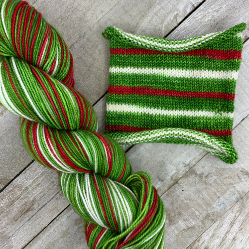Santa's Dance Party - hand-dyed self-striping sock yarn