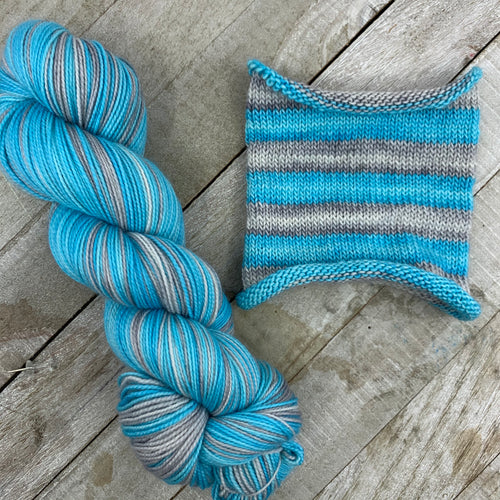 Thawed - hand-dyed self-striping sock yarn