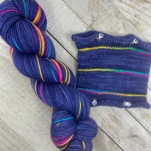 A Tiny Blue Rainbow - hand-dyed self-striping sock yarn