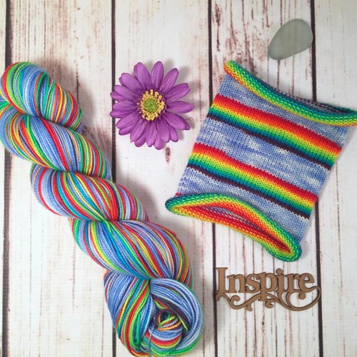 Nothing Says Screw You Like A Rainbow - hand-dyed self-striping sock yarn