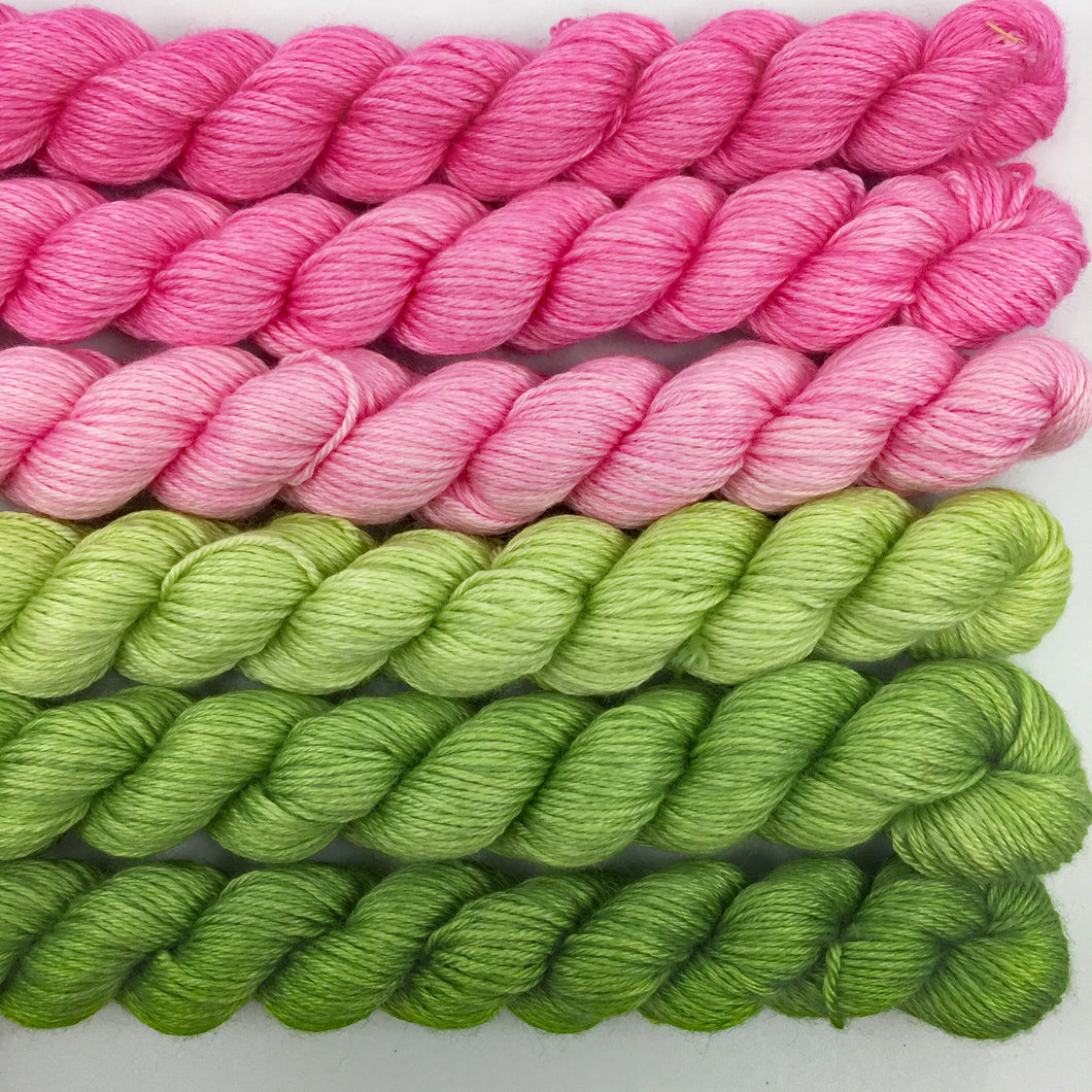 Pink and green shawl kit - 50% SW merino, 50% silk
