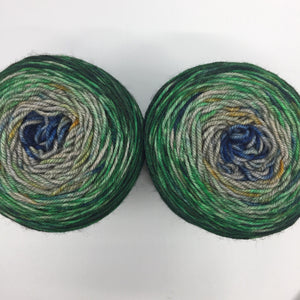 Speckled gradient sock pair - yak base, green to blue