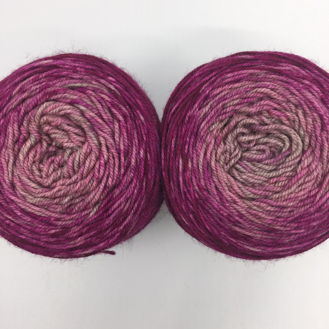 Speckled gradient sock pair - yak base, raspberry to natural