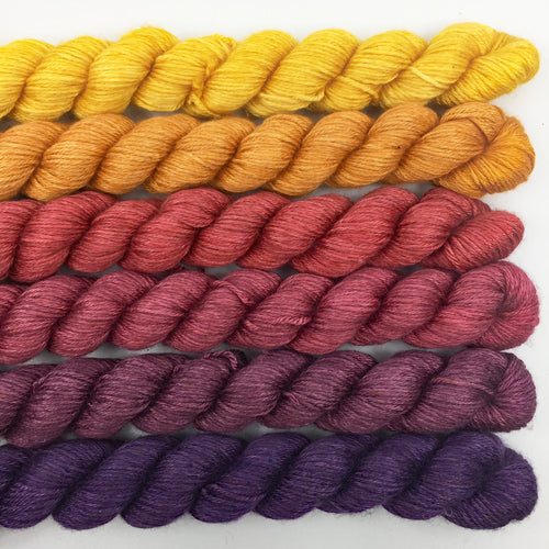 Golden yellow to purple shawl kit - 50% SW merino, 50% silk
