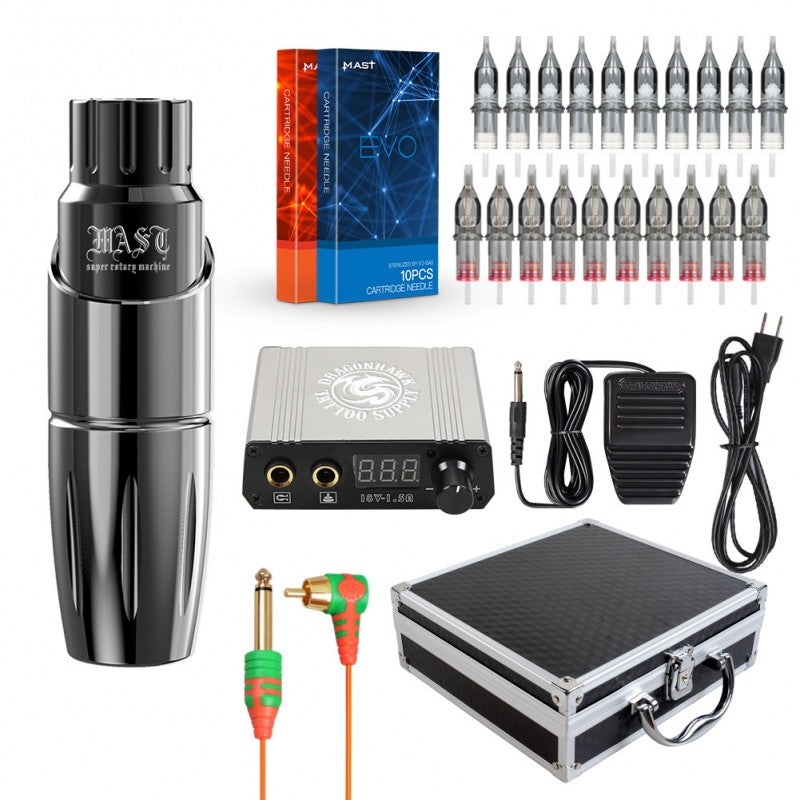 Mast Tour Rotary Tattoo Machine Kit Pen 20Pcs EVO Cartridges Needles Power Supply RCA Connected with Gift Case(Gray Machine Kit)