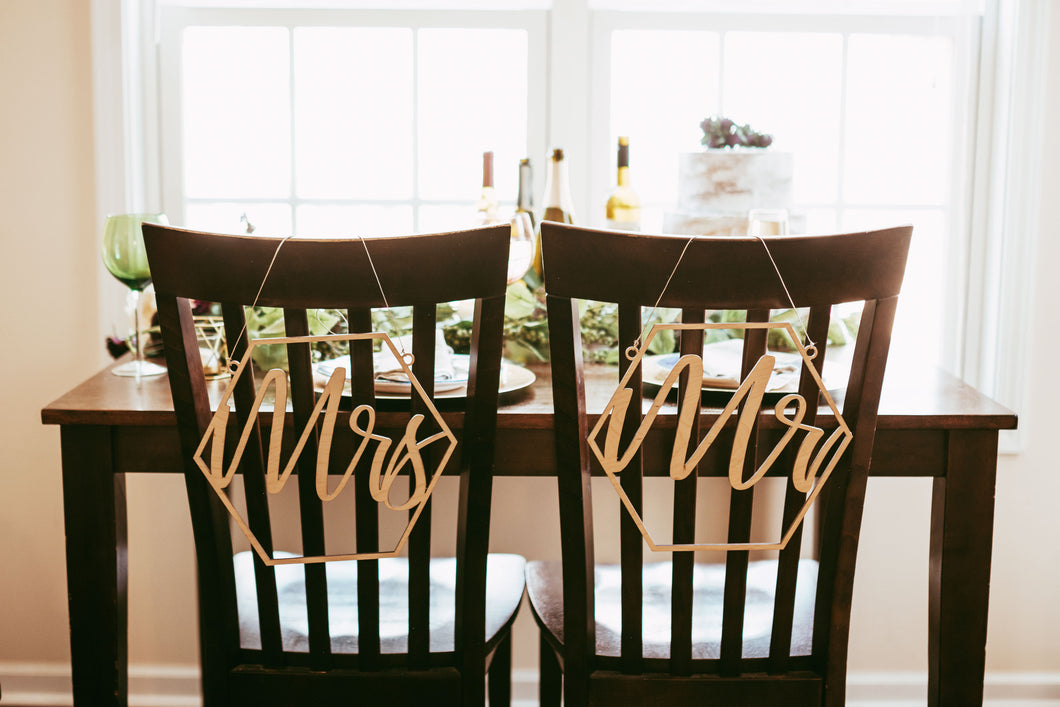 Geometric Mr and Mrs Chair Backers