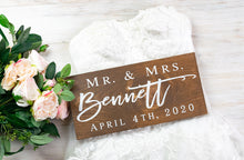 Load image into Gallery viewer, Mr and Mrs Last Name Sign with Wedding Date
