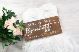 Mr and Mrs Last Name Sign with Wedding Date
