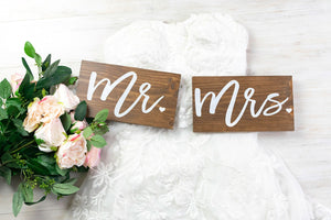 Modern Mr and Mrs Wedding Signs with Hearts