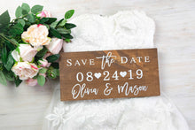 Load image into Gallery viewer, Save the Date Sign with Names and Wedding Date