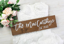 Load image into Gallery viewer, Modern Wooden Last Name Wedding Sign with Established Year