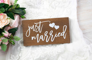 Just Married Sign with Hearts