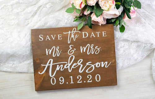 Save the Date Sign with Last Name and Wedding Date