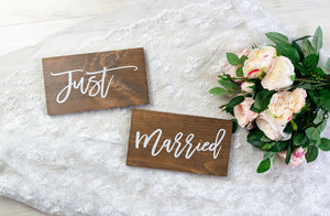 Just Married Wedding Chair Signs